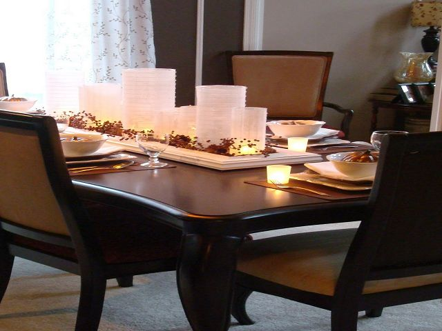 glass dining room table centerpieces