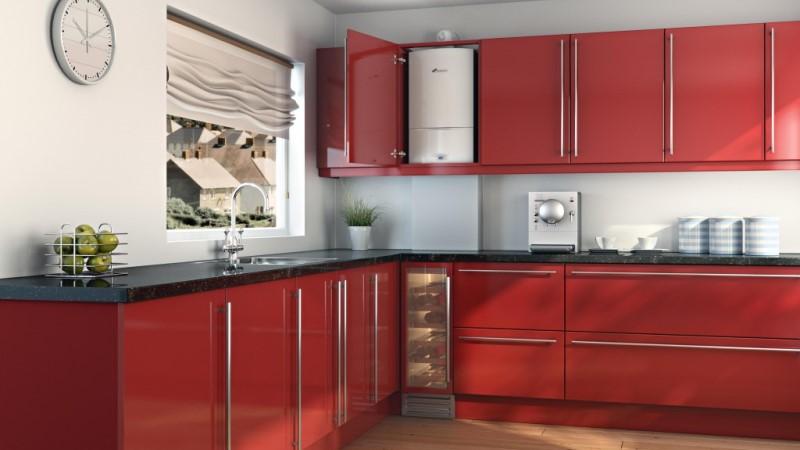 на фото: как спрятать газовый котел на кухне