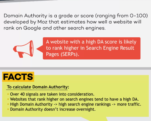 website's domain authority