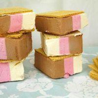 Helado al corte de tres sabores o helado de sandwich fácil sin usar molde