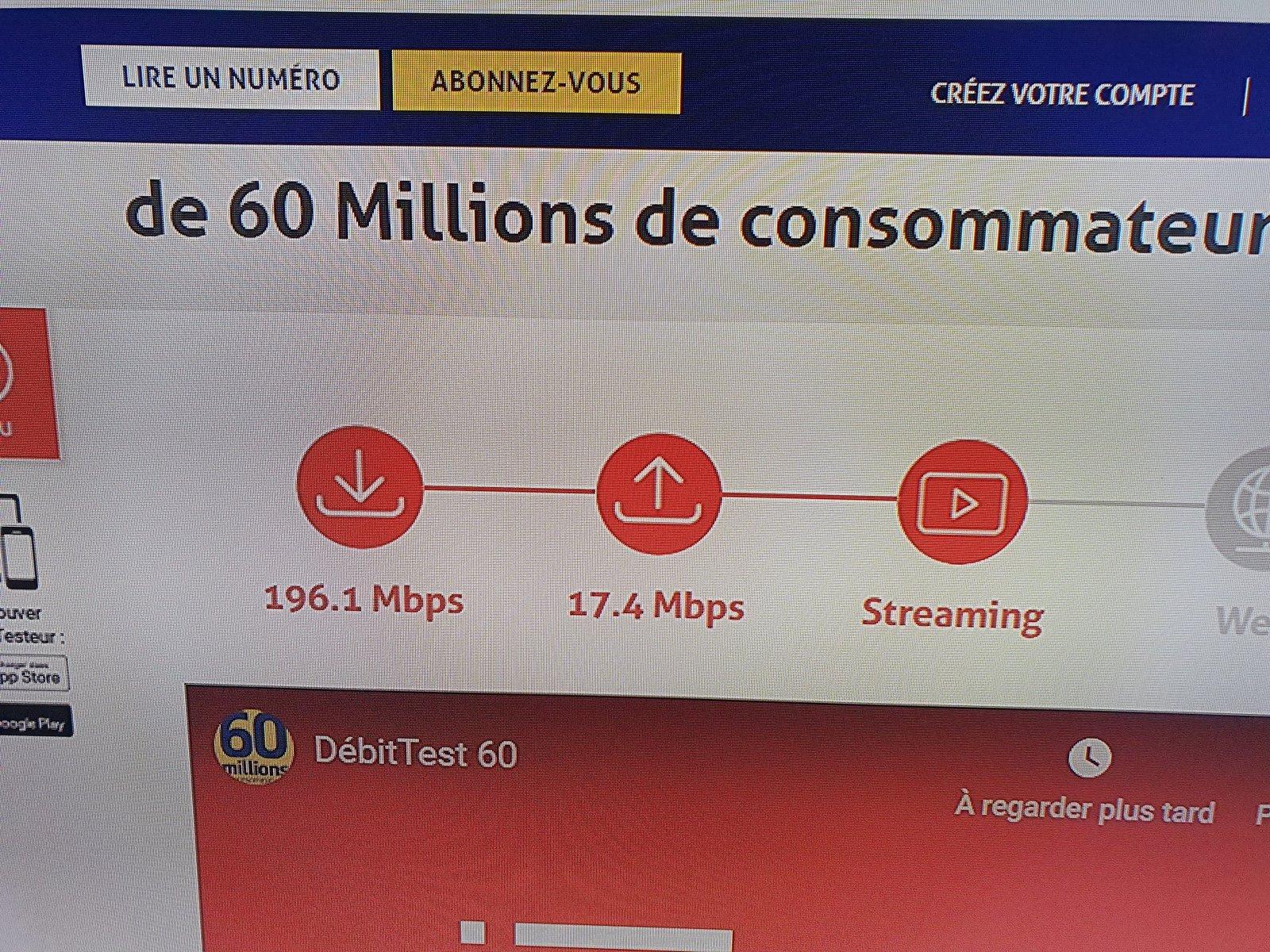 vitesse de connexion internet decodeur