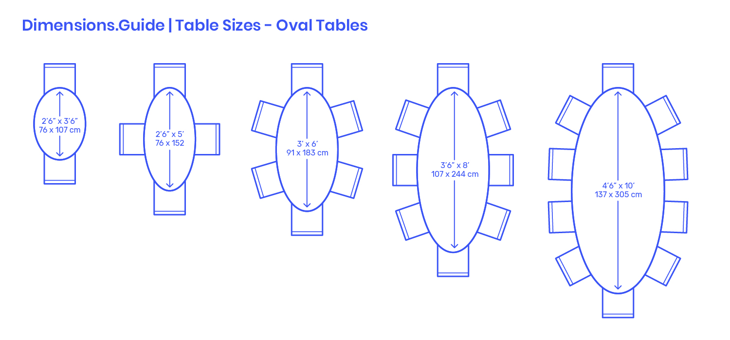 oval table sizes dimensions drawings