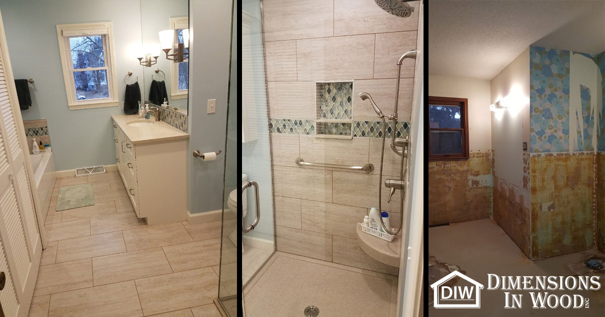 bathroom remodel with glassed in shower