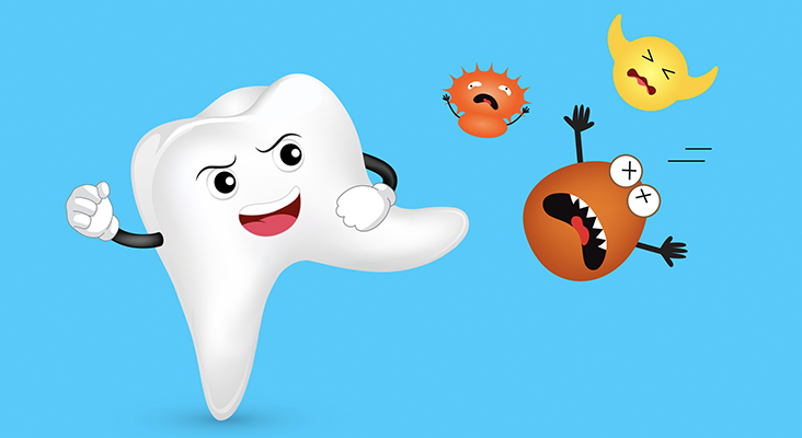 Cute cartoon tooth character attacking bacteria
