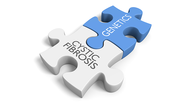 puzzle pieces saying cystic fibrosis and genetics