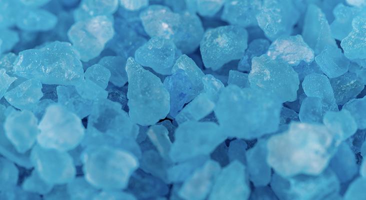close up of blue meth