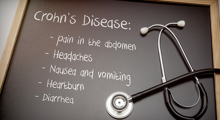 Crohn's disease can have these symptoms diarrhea, Headaches, Heartburn, Nausea and vomiting, Pain in the abdomen,