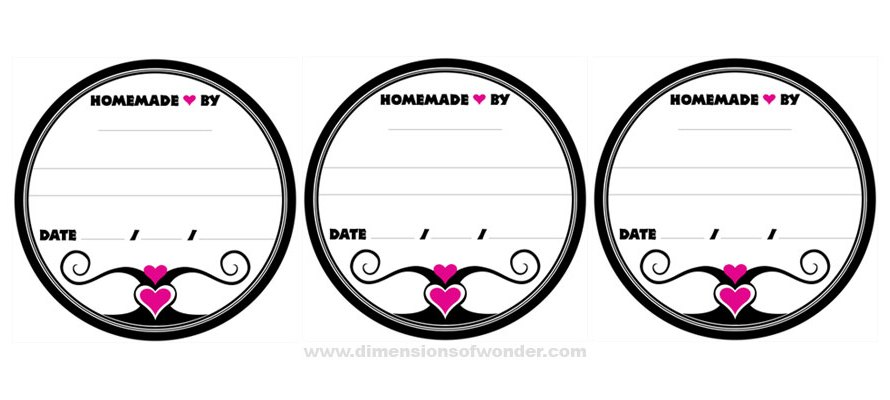 Jelly Jar Labels in White, Black & Pink
