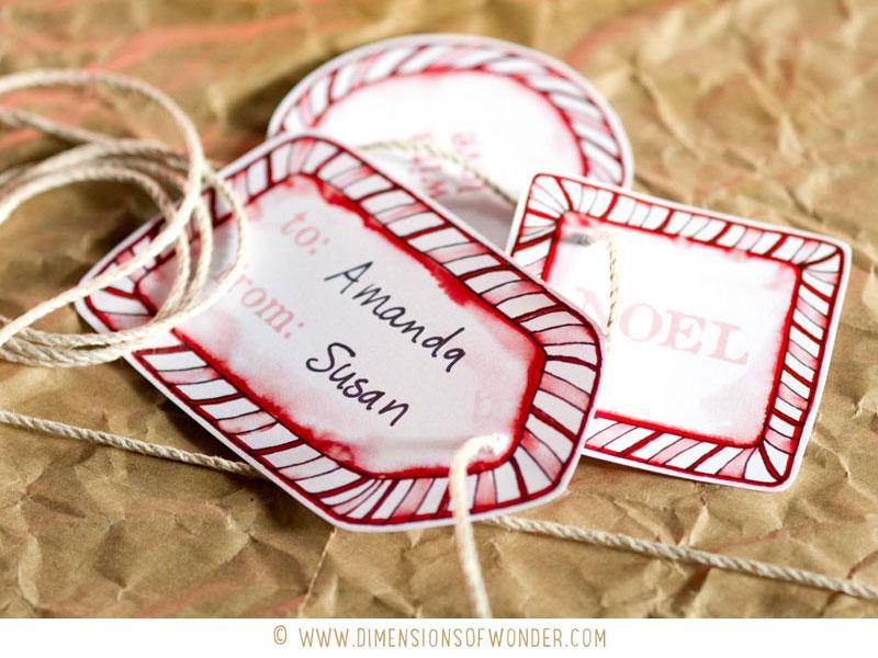 free printable Christmas labels, printable Christmas tags presentation, cane cane borders