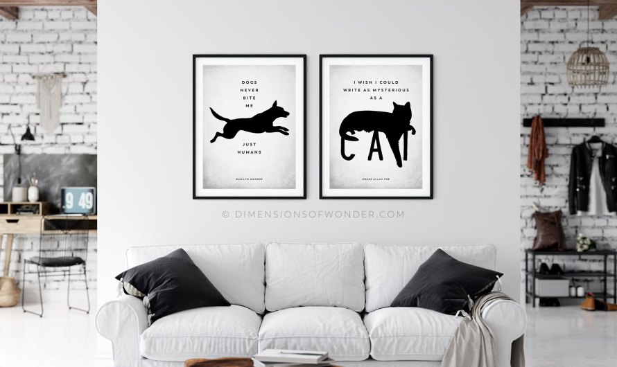 Dog & Cat Silhouette Wall Decor Printable (Free)
