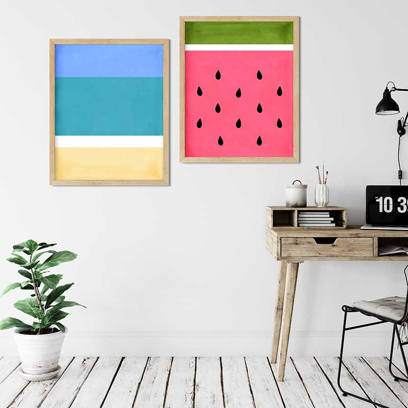 tropical beach and watermelon summer printables wall decor