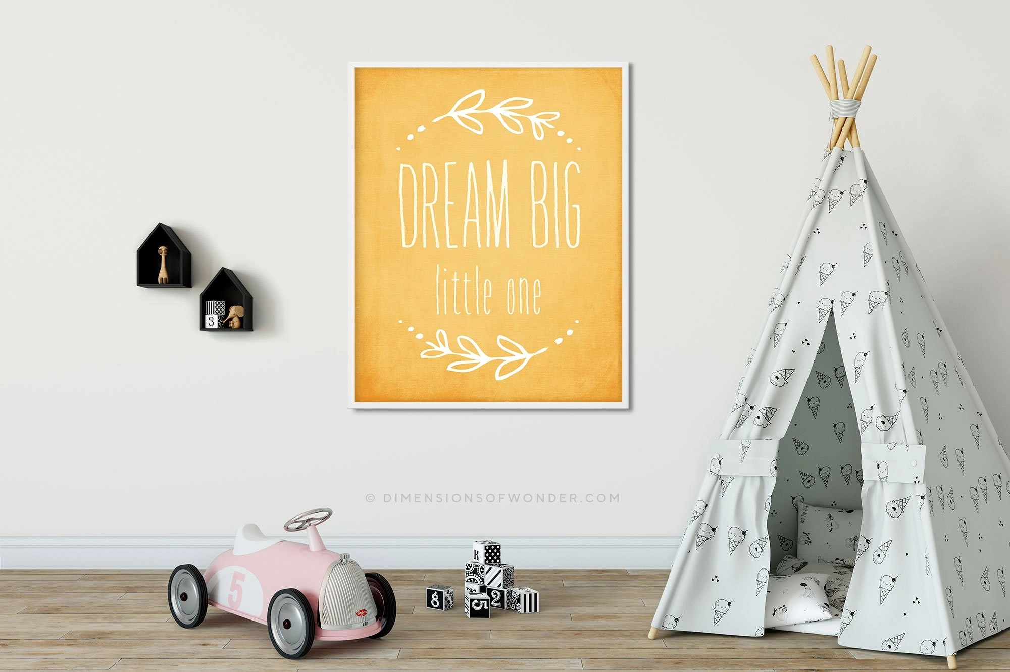 free printable yellow nursery art dream big little one