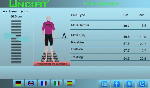 Capture d'écran Bicycle Frame Size Calculator