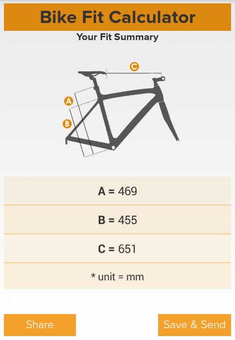 Capture d'écarn Bike Fit Calculator