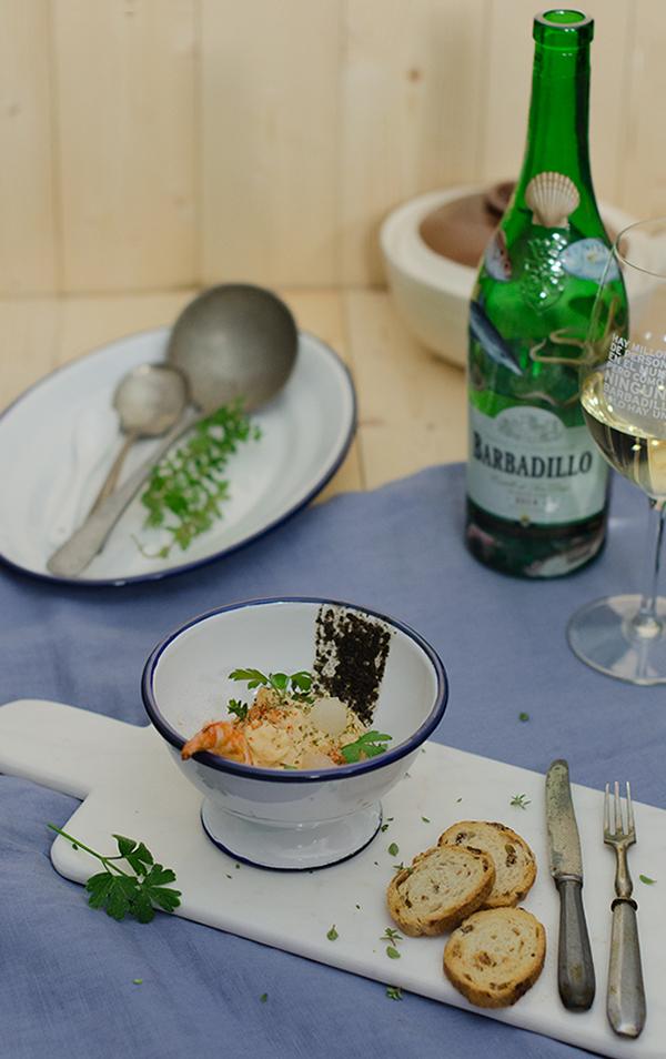 Brandada melosa de bacalao con tapenade de olivas negras y gelatina de Barbadillo