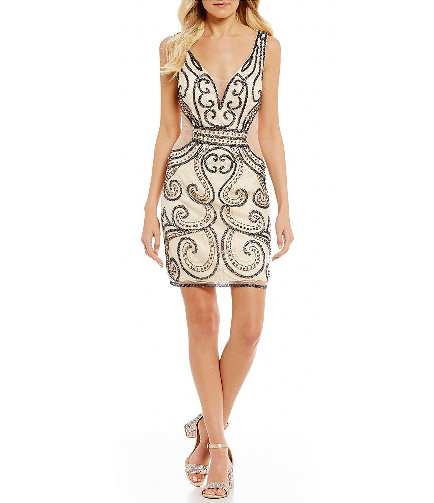 GB Social Allover Beaded Dress   Dillards GB Social Allover Beaded Dress