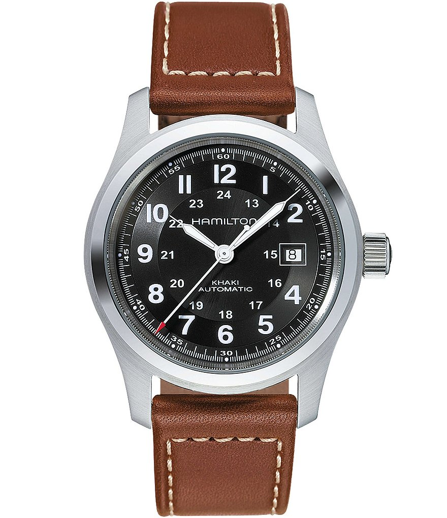 Hamilton Khaki Field Automatic Brown Leather-Strap Watch | Dillard's