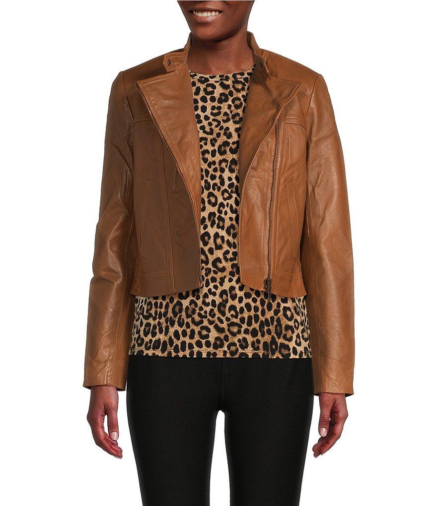 michael michael kors genuine leather moto jacket