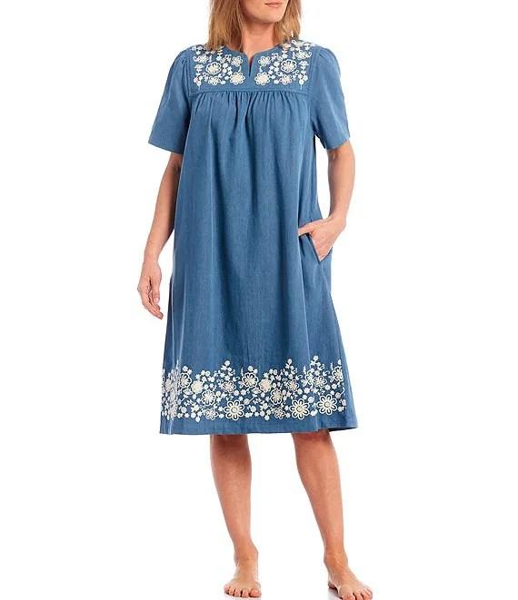 go softly denim dori embroidered short sleeve patio dress