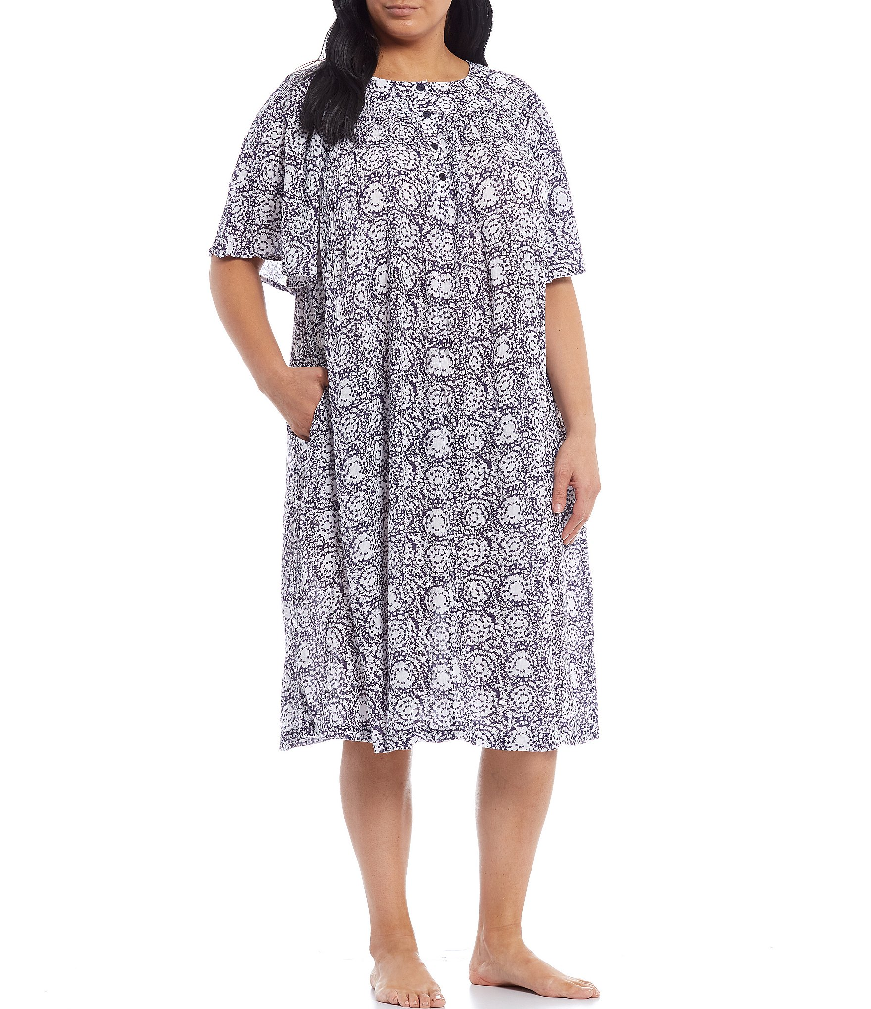 go softly plus circle montage printed crinkled woven patio dress