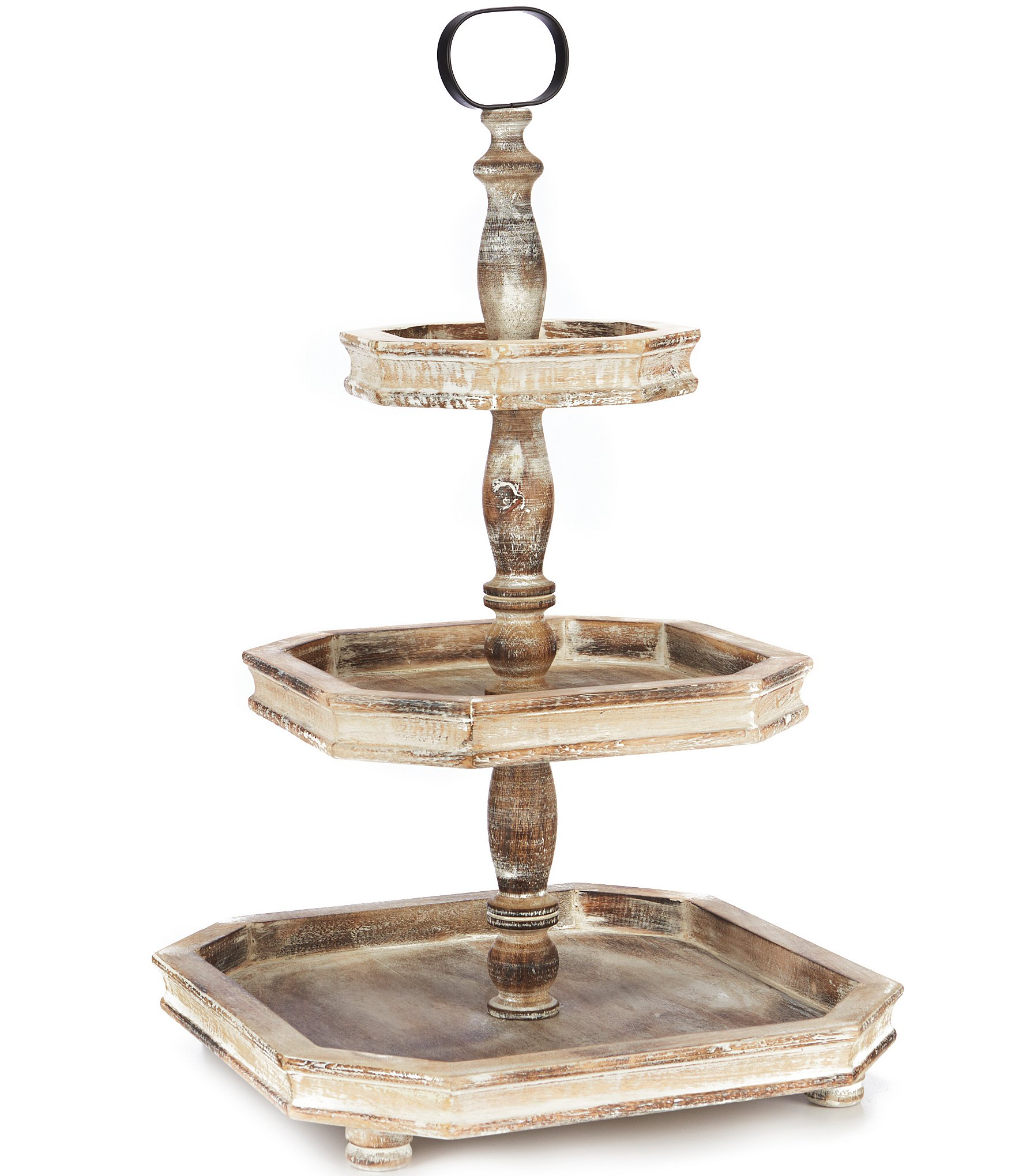 Southern Living Burnt White Washed 3 Tier Square Wood