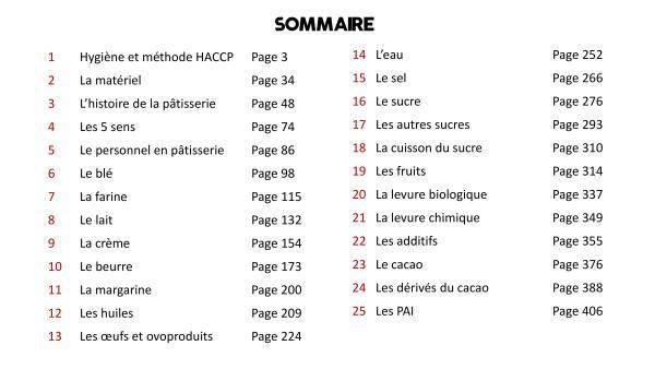 Course summary CAP Patissier