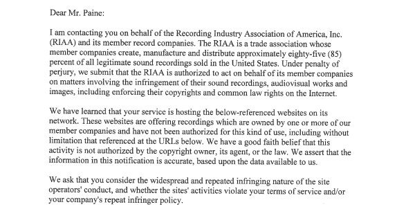 RIAA Obtains Subpoena to Expose 'Infringing' Cloudflare Users