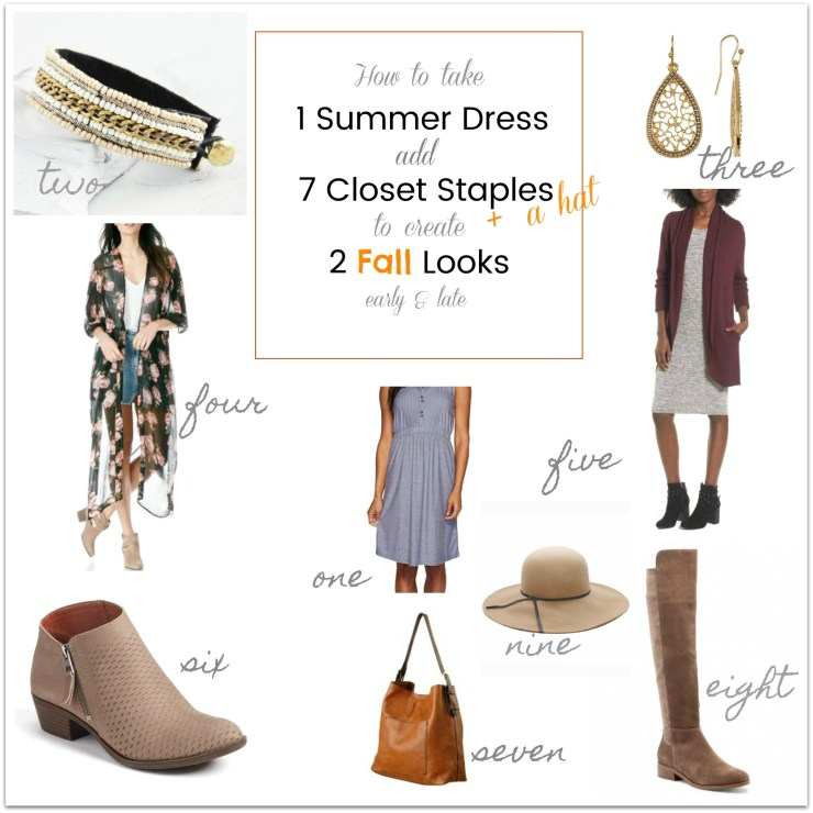 1 SUMMER Dress Transitions into 2 Fall Outfits / Between Season Outfits / Fall Outfits / dimplesonmywhat.com