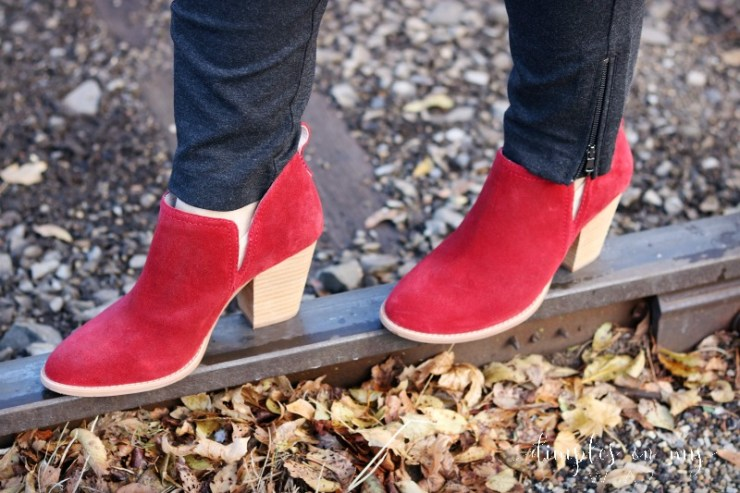 Red Booties | Red Shoes | Jeffery Campbell Booties | Casual Holiday Style