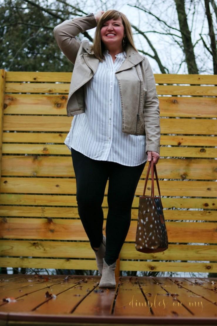Faux Leather Jacket | Athleta Leggings | Curvy Style | Fashion Over 50