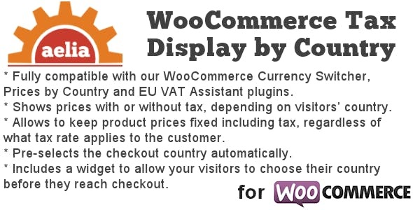 JUAL Aelia Tax Display by Country for WooCommerce