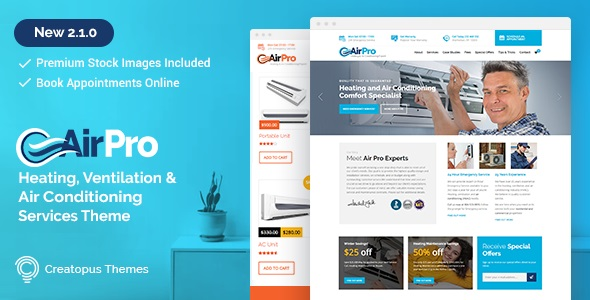 JUAL AirPro - Heating and Air conditioning WordPress Theme for Maintenance Services