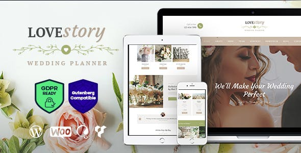 JUAL Love Story - A Beautiful Wedding and Event Planner WordPress Theme