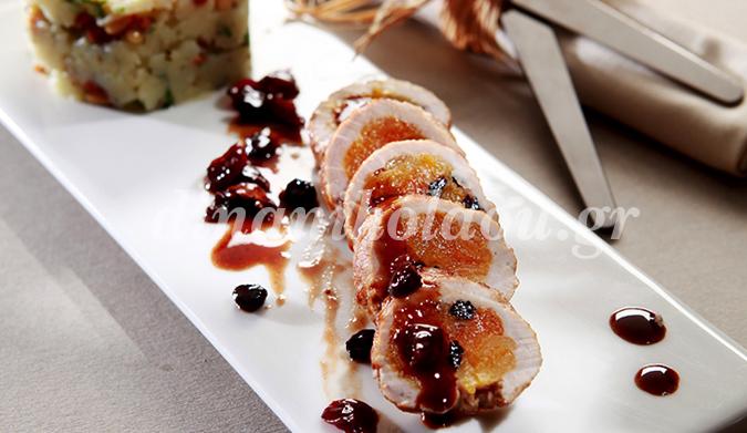 Ψαρονέφρι γεμιστό με ξερά φρούτα