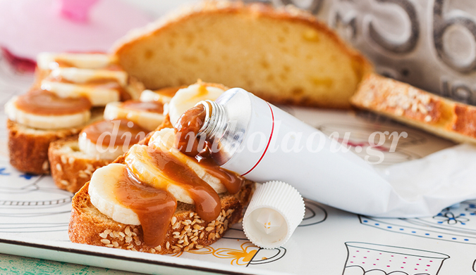 Mπρουσκέτες με μπανάνα και σάλτσα butterscotch