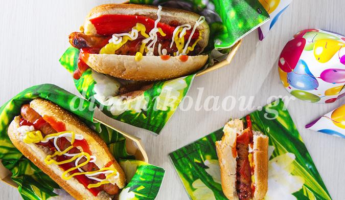 Hot dogs με λουκάνικα Τζουμαγιάς και σπιτική μαγιονέζα
