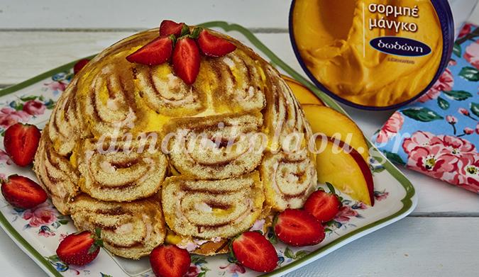 Εξωτική τούρτα με 2 σορμπέ (μάνγκο & βατόμουρο) και παρφέ φράουλα