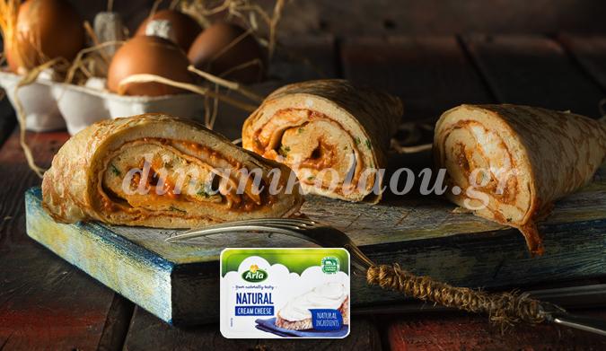 Κρέπες με ομελέτα και κρέμα τυριού