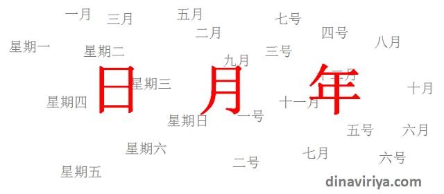 Menyatakan Hari, Bulan, Tanggal dan tahun dalam bahasa Mandarin