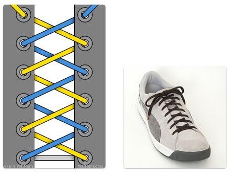 cara mengikat tali sepatu keren unik mudah dan gaul criss cross lacing