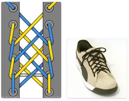 cara mengikat tali sepatu keren unik mudah dan gaul Spider Web Lacing