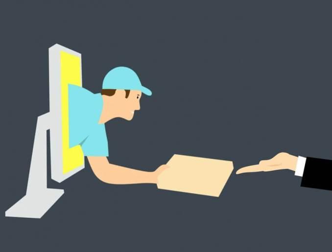 gambar orang keluar dari pc komputer mengantar barang reseller bisnis online dropshipping