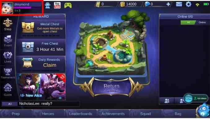 cara mengganti akun mobile legend sebelum level 8