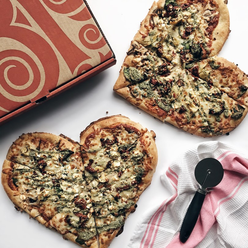 Heart-shaped pizza from Boston Pizza. Available only on Valentine's Day.