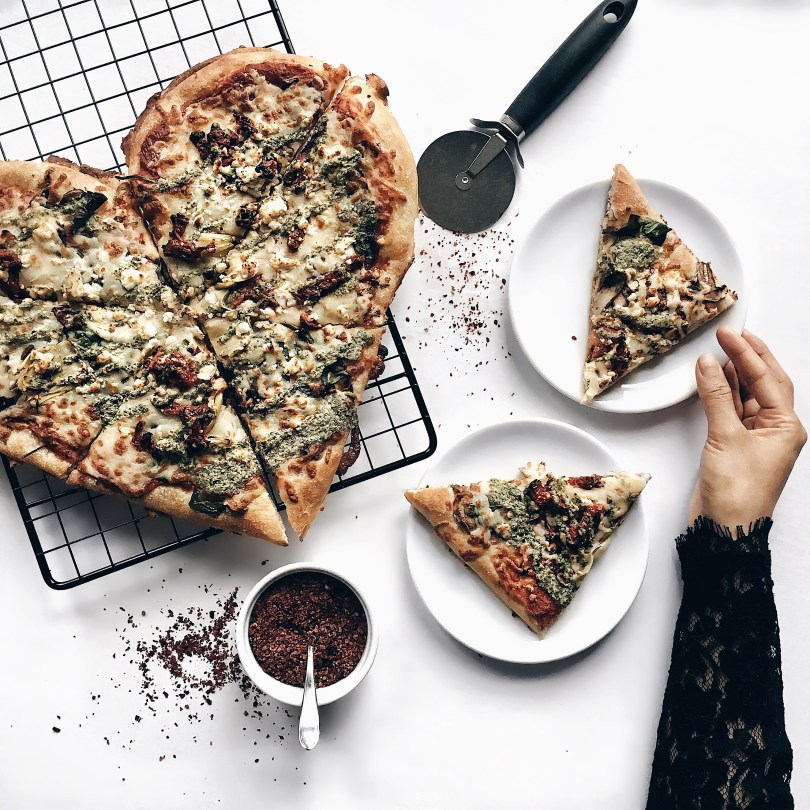 Reaching for a slice of Boston Pizza's heart-shaped pizza