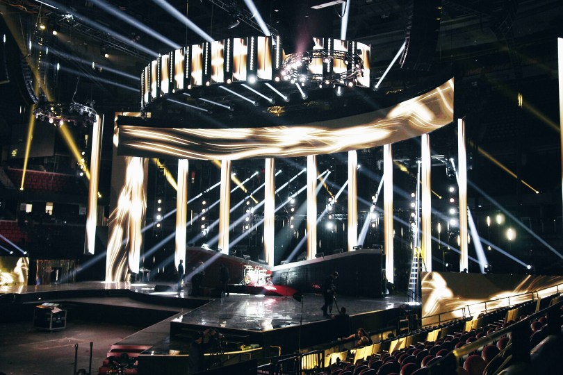 A view of the JUNO Awards stage at the Canadian Tire Centre