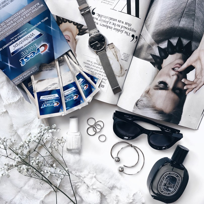 Flatlay of some of my favourite products, including Crest Whitestrips
