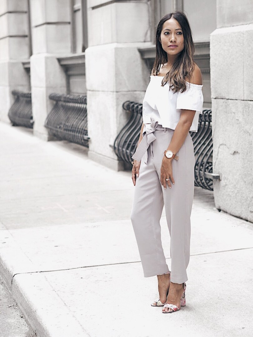 Off the shoulder top and grey pants from Aritzia