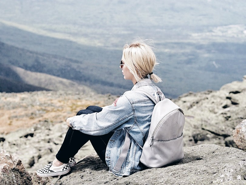 Jeanne enjoying the view at Mount Washington