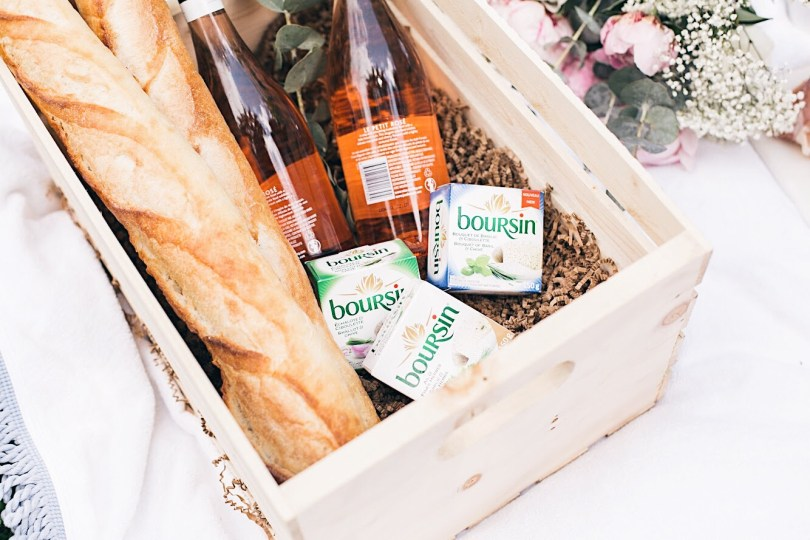 Boursin pairs perfectly with rose wine and baguette bread